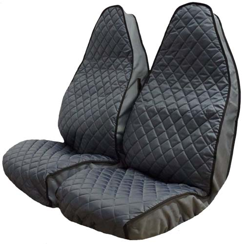 Semi Tailored Grey Quilted Van Seat Covers - Front Pair Example