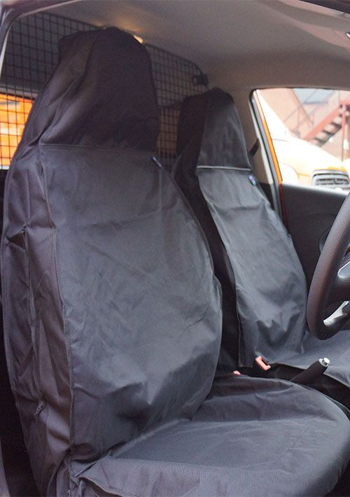 2010 on NISSAN NV200 1 FIXING CLIPSPair Of Waterproof Seat Covers Grey